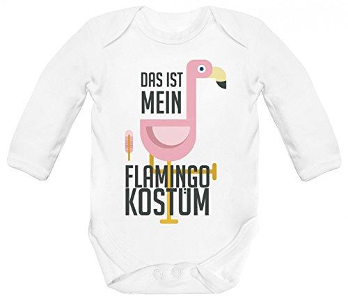 Kostüm Flamingo Baby - Fasching Karneval Verkleidung Strampler Bio Baumwoll Baby Body langarm Das ist mein Flamingo Kostüm, Größe: 3-6 Monate,White