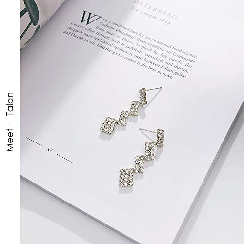 DADATU Taran's Simple-Faced Long Embellished Diamond Earrings Personality cool Wind Korean earless Clip Ear Nail Ear-Strapped Female
