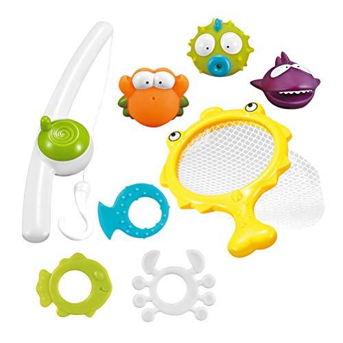Toyvian Baden Angeln Spielzeug Floating Soft Rubber Wasserwanne Spielzeug Squirts Spoon-Net für Kinder 8St