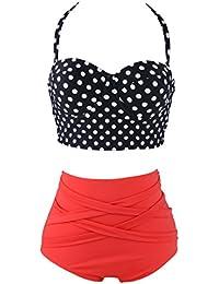 FINEJO Polka Dot Vintage Retro High Waist Push Up Bandeau Bikini Swimwear Swimsuit Set