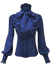 ad070eb431 Double Villages Falda Plisada con Volados de Gasa Blusa para Mujer Blusa  Lolita Victoriana Retro Blusa