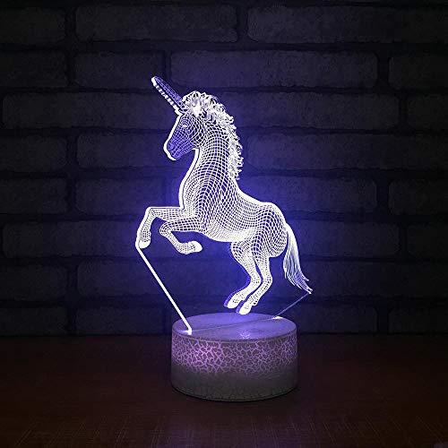 Einhorn 3D Nachtlicht, 7 Farbe Dekorative Led Nachttischlampe Für Kinderzimmer Weihnachten Geburtstag Geschenke Für Jungen Mädchen Kind Fernbedienung