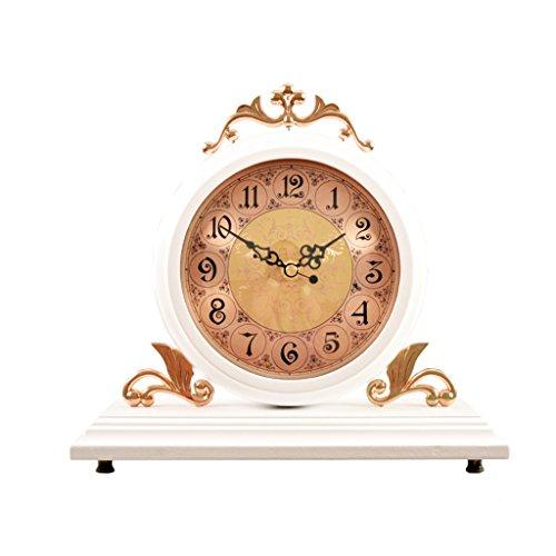 WEIJUN SHOP Massivholz Doppelseitige Tischuhr, Wohnzimmer Retro Stille Desktop Pendulum Stücke Desktop-Uhr, Non-ticking, 9.8 × 10.6 Zoll (Farbe : B)