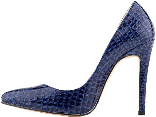 CFP ,  Damen Durchgängies Plateau Sandalen mit Keilabsatz Blau