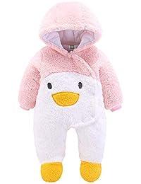 Pelele Bebe Invierno Unisex Recién Nacido Niña Niño Bodies Disfraces Animales Panda Pato Pinguino Pollito Monos con Capucha Caliente Abrigo