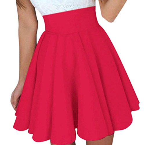 Damen Röcke, VEMOW Frauen Sommer Party Cocktail Hohe Taille Skater Karneval Mini Rock(X1-Rot, S(Waist:60-70cm))