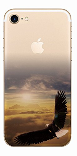 MPPK-Hamburg ® Apple iPhone ® 7 - 4,7 Zoll Schutz Hülle - Case in wunderschönem Design – Stabiles / transparentes PC - Pacific Surfing Wave Adler über den Wolken