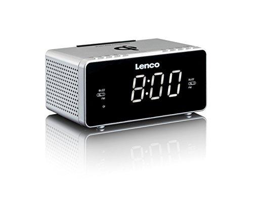 Lenco CR-550 Silver Stereo Uhrenradio mit 3,04 cm (1,2 Zoll) LED-Bildschirm , Smartphone kabellos laden durch QI-Technologie , PLL FM Radio blau