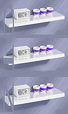 Set of 3 80cm Hi GLOSS FLOATING SHELVE WALL MOUNTABLE SHELVE produced by Online Traderz - quick delivery from UK.