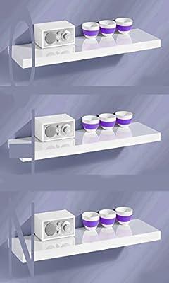 Set of 3 80cm Hi GLOSS FLOATING SHELVE WALL MOUNTABLE SHELVE - inexpensive UK light store.