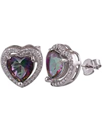 Silver Prince 3.6 Grm Mystic Topaz, White Cubic Zirconia Pure 925 Silver Earrings For Women & Girls