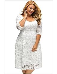 XL CAMISETA MANGA rodilla siete Vestido encaje e impresión,XXXL, blanco