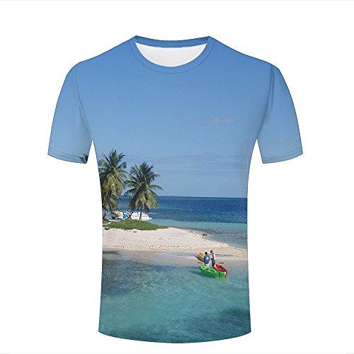 Herren Crewneck 3D Print T-Shirt small Island and Ship Creative Graphic Short Sleeve Tee Top Shirts S -