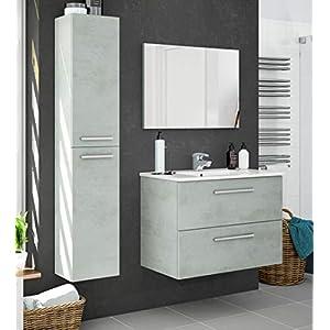 Miroytengo Pack Muebles baño Plutón diseño Moderno (Mueble Baño+Espejo+Columna+Lavabo Cerámica)