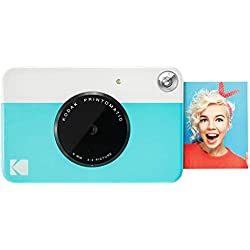 Kodak Printomatic - Appareil Photo à Impression Instantanée avec Papier Autocollant Zink 5 cm x 7,6 cm, Bleu
