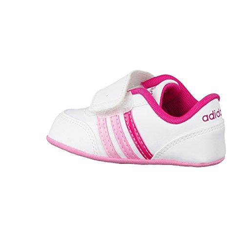 adidas V Jog Crib, Scarpe Indoor Multisport Unisex – Adulto Bianco (Ftwbla/Rosfue/Rossen)