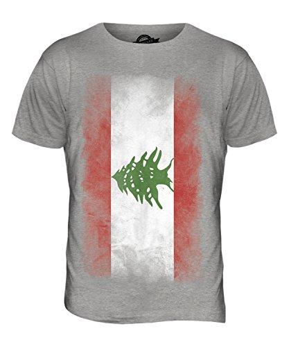 CandyMix Libanon Verblichen Flagge Herren T Shirt Grau Meliert