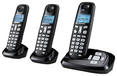 Grundig D160A Trio DECT Schnurlostelefon mit Anrufbeantworter schwarz