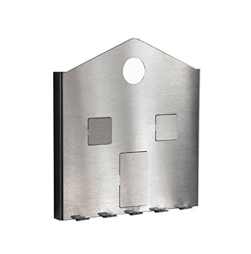Schlüsselbrett Hausoptik - Kartenklemme - Edelstahl matt - Made in Germany (Groß (19,2 cm x 18 cm x 1,6 cm))