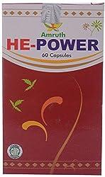 Amrutham Ayurveda HE-Power Capsules, Brown (Pack of 60 Capsules)