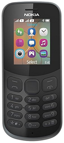 Nokia 130 Mobiltelefon (VGA Kamera, Bluetooth, extra lange Akkulaufzeit, Radio- und MP3 Player, Taschenlampe, Wecker, Dual Sim) schwarz, version 2018 - Sim-handy-mp3