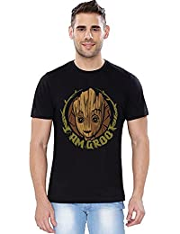The Souled Store Guardians Of The Galaxy Volume 2: Baby Groot Superhero Graphic Printed BLACK Cotton T-shirt for Men Women and Girls