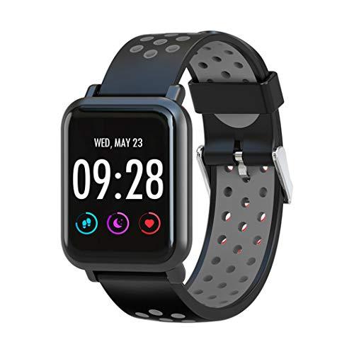 HHRONG Smart Watch, Silikon-Farbdisplay Herzfrequenz-Überwachung, wasserdicht, IP68, Multifunktions-Armband, Smartwatch für iOS Android, Schwarz , L