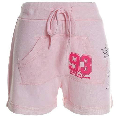 Kinder Mädchen Kurze Hose Bermuda Shorts Sommer Capri Pump Pants Jeans 20361, Farbe:Rosa;Größe:140
