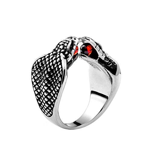 Beydodo Titan Ringe für Männer Schlangen Cobra mit Rot Zirkonia Freundschaftsring Punk Ring Schwarz Silber Gr.60 (19.1)