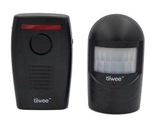 tiiwee Funk Bewegungsmelder Alarm Durchgangsmelder Einbruchschutz - Schwarz mit Batterien