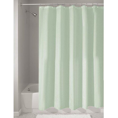 InterDesign Duschvorhang aus Stoff | wasserdichter Duschvorhang mit verstärktem Saum | waschbarer Textil Duschvorhang in der Größe 183,0 cm x 183,0 cm | Polyester meeresgrün Stoff Dusche Vorhang Grün