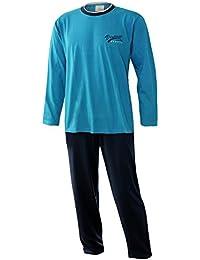 Herren Schlafanzug lang Herren Pyjama lang Hausanzug Herren aus 100% Baumwolle