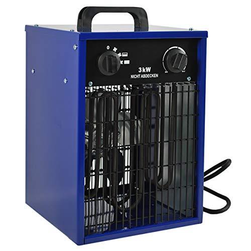 HELO Heizlüfter 3 kW Elektroheizer mit 2 Heizstufen, Thermostat und Überhitzungsschutz (Temperatur stufenlos regelbar), Heißluftgenerator geeignet als Bauheizer oder Bautrockner (230V/50hz)