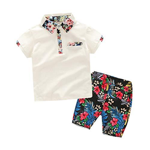 aiyvi Kleinkind Scherzt,Kinder Baby Jungen Gentleman Einfarbig T-Shirt Tops&Floral Drucken Shorts Sommer Kleidung Outfits Set,Casual und Cool,für 18 Monate-6 Jahre Kinder