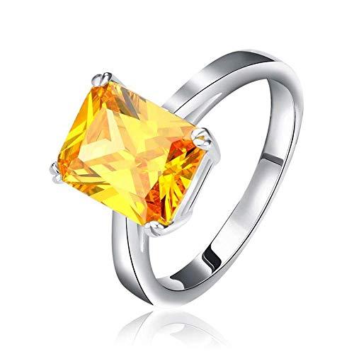 J-Z Fashionring 4 Karat Princess Cut Gelb Zirkon Vintage Cz Ring Silber Farbe Ringe für Damen, Ring, 7 - Herren Ringe Cz Alle