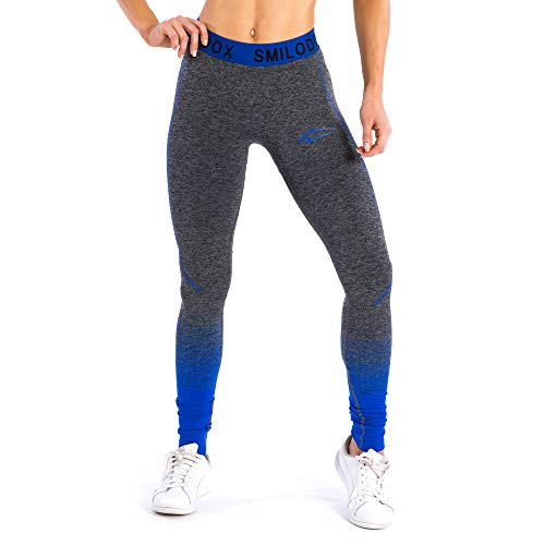 Smilodox Leggings da donna | senza cuciture–modellanti, per sport, fitness, palestra, allenamento e tempo libero Antracite/Blu X-Small