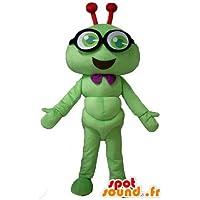 Mascot oruga verde, insecto sonriente, con gafas