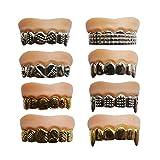Dientes Pascua divertido juguete dentaduras colmillos enteros de oro de la simulación Juguetes cuerpo mascarada Nuevos dientes de oro exóticos dientes de plata para 8pcs de Pascua