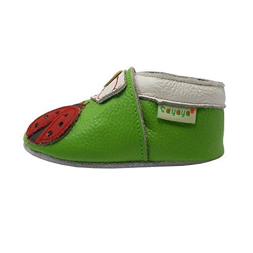 Sayoyo Ladybug Unisexe Nourrissons Toddler douce Sole Chaussures bébé en cuir?24-36 mois, Noir) Vert