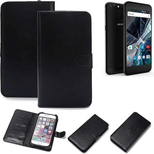 K-S-Trade 360° Wallet Case Handyhülle für Archos 55 Graphite Schutz Hülle Smartphone Flip Cover Flipstyle Tasche Schutzhülle Flipcover Slim Bumper schwarz, 1x