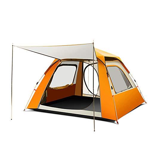 ZA Vollautomatisches Zelt, verdicktes regensicheres Campingzelt für 3-5 Personen im Freien, tragbares leichtes Zelt, großer Raum, atmungsaktiv gegen UV-Strahlen (Farbe : Orange)
