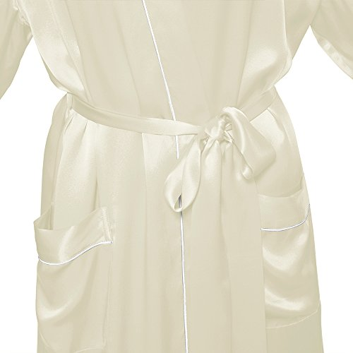 LILYSILK Robe de Chambre en Soie Femme Style Kimono Midi 22 Momme Beige