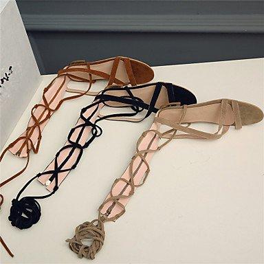 LvYuan Da donna / Per bambinaFormale / Casual / Serata e festa-Innovativo / Alla schiava-Piatto-Finta pelle-Nero / Marrone / Beige Brown
