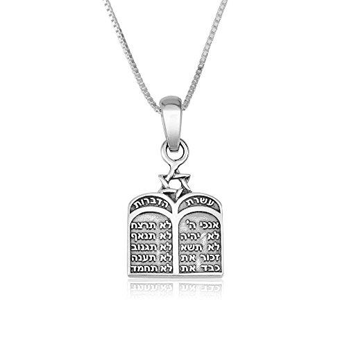 Marina Jewelry Genuine 925 Sterling Silber Kette Halskette 10 Gebote Anhänger Charme 18 Zoll Box Kette für Frauen
