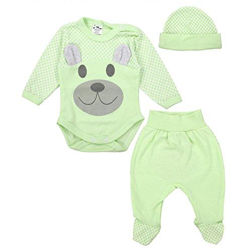 TupTam Baby Bekleidungsset Body Strampelhose Mütze Teddybär, Farbe: Seladongrün, Größe: 56