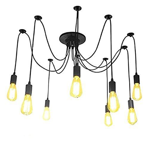 Asvert Pendelleuchte Vintage Multi Cord Edison Birne Loft Schwarz Scheune Hängelampe Beleuchtung, Schwarz (ohne Leuchtmittel) (8 Köpfe)