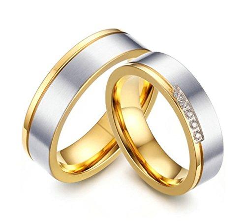 Jiedeng Schmuck Unisex Ringe aus Edelstahl Ring mit Zirkonia CZ Freundschaftsringe Verlobungsringe Ehering Trauringe für Herren-Ring Gold Silber Größe 57 (18.1) Silber Trauringe Männer