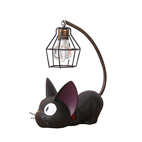 Résine Motif chat lampe Creative lumière de nuit Table de chevet Lampes pour lire (fil de fer Abat-jour)