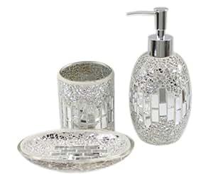 3 Piece Modern Silver Chrome Sparkle Mosaic Glass Tile Bathroom Accessory Set