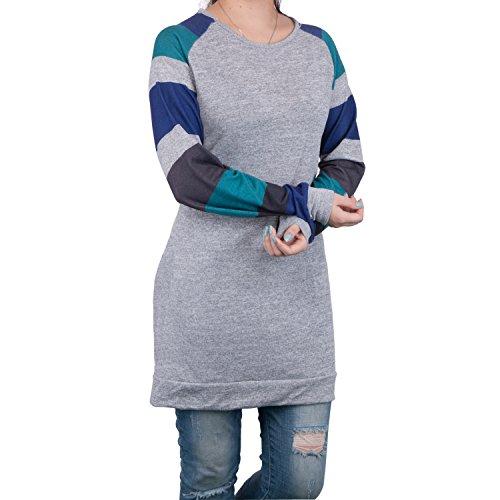 Zerlar Frauen Damen Striped Strickhemd Knit Tops Kleid Langarm T-Shirt Bluse Pullover Blau Grau